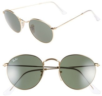 Women's Ray-Ban Icons 50Mm Round Metal Sunglasses - Gold/ Green $150 thestylecure.com