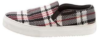 Celine Plaid-Printed Slip-On Sneakers