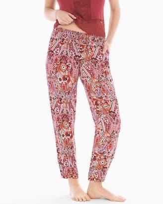 Rayon Challis Banded Ankle Pajama Pants Nomadic Floral Cherrywood