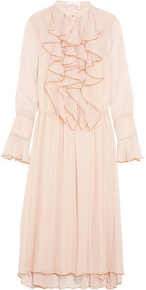 See by Chloé - Ruffled Crinkled-chiffon Midi Dress - Pink $595 thestylecure.com