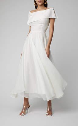 Martin Grant One-Shoulder Linen-Blend Midi Dress