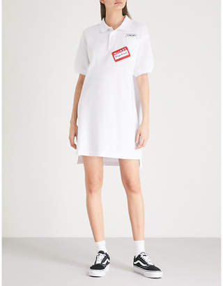 Mini Cream Logo-print cotton-piqué dress