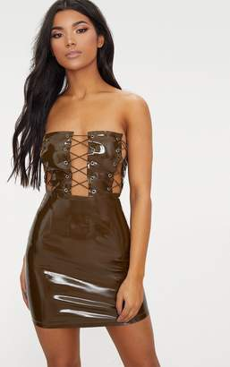PrettyLittleThing Olive Bandeau Vinyl Lace Up Front Bodycon Dress