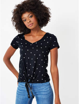 George Black Love Heart Print Knot Front Top