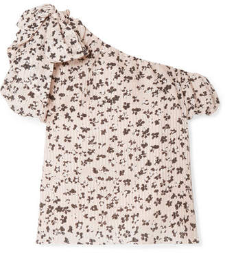 Ulla Johnson Femi One-shoulder Floral-print Cotton And Silk-blend Gauze Top - Blush