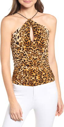 J.o.a. Leopard Print Keyhole Camisole