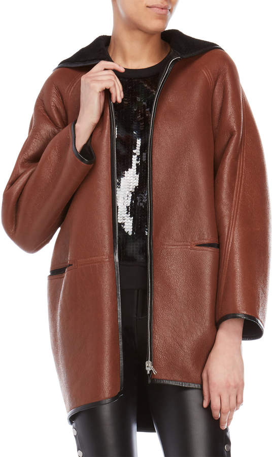 Faith Connexion Vintage Leather Hooded Coat
