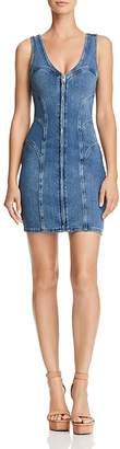 GUESS Zip-Front Denim Body-Con Dress