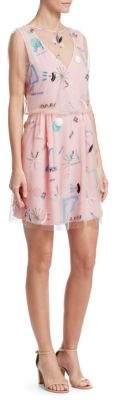Emporio Armani Sheer Embellished A-Line Dress