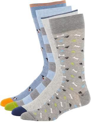 Neiman Marcus Men's Dog-Print Socks in Gift Box, 4-Pack