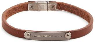 Saint Laurent Logo-plaque leather bracelet