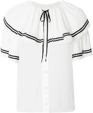 Philosophy di Lorenzo Serafini embroidered ruffle neck blouse