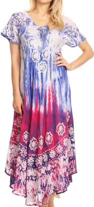 Sakkas 18604 - Sofia Women's Flowy Summer Maxi Beach Dress Tie-dye w/Batik & Short Sleeves - OS