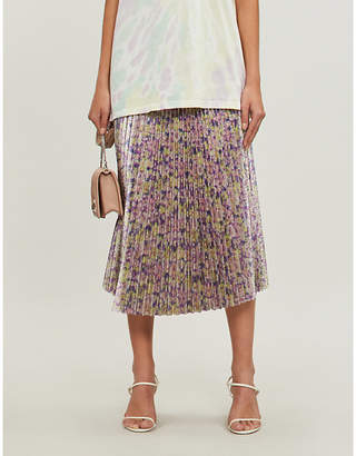 f9c74d7ebf30 Stella McCartney Floral-print metallic pleated midi skirt
