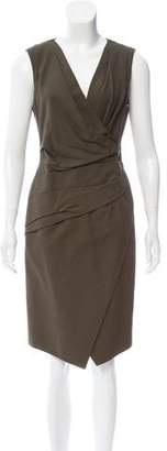 J. Mendel Leather-Trimmed Midi Dress