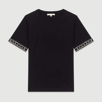 Maje Open-work T-shirt with rhinestone