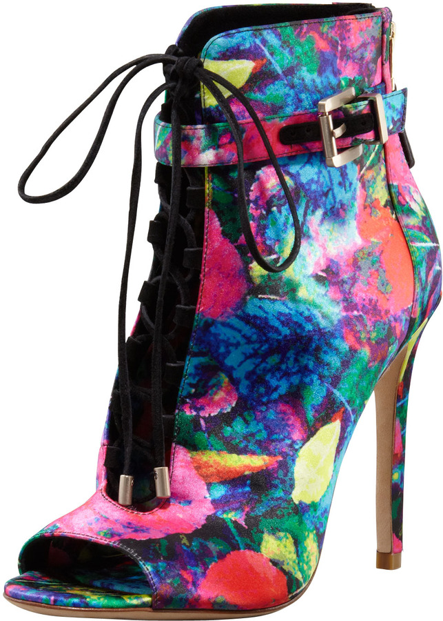 Brian Atwood Floral-Print Satin Bootie