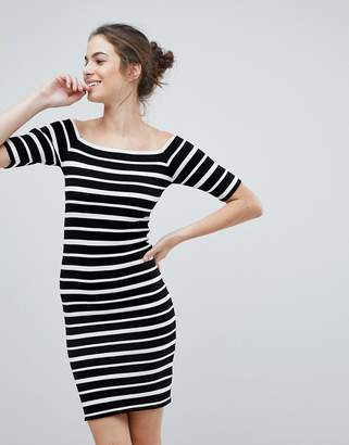 Lipsy Off Shoulder Bodycon Dress In Stripe
