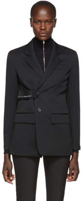 Prada Black Logo Patch Single-Breasted Blazer