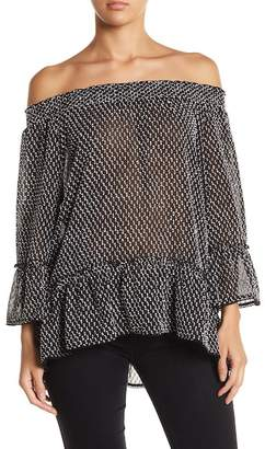 Democracy Off-the-Shoulder Ruffled Hem Blouse
