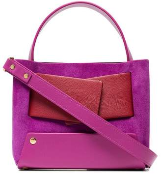 Yuzefi pink and red Dinky leather and suede shoulder bag