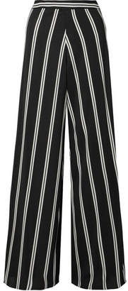 Alice + Olivia Athena Striped Georgette Wide-leg Pants - Black