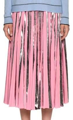 Marni Plisse Foil Ankle-Length Skirt
