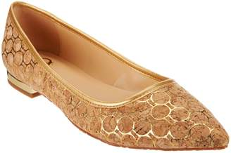 C. Wonder Printed Cork Flats with Heel Hardware - Lilly