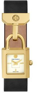 Tory Burch Tory Burch Surrey Goldtone Stainless Steel & Leather Strap Watch