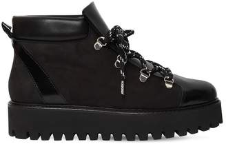 Ganni 30mm Alma Leather & Shearling Boots