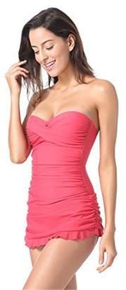 c9513a6ba3b8c MENILITHS Women s Bandeau Halter One Piece Skirted Swimsuit Swimdress  Bathing Suit