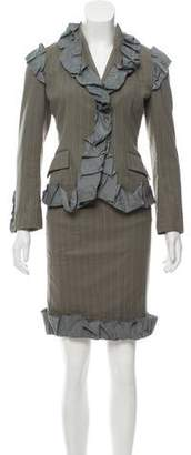 Issey Miyake Ruffle-Accented Skirt Suit