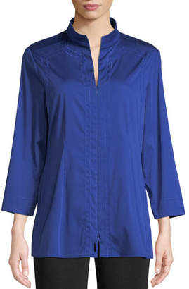Misook Funnel-Neck Zip-Front Woven Blouse