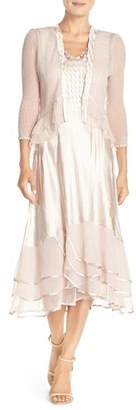 Women's Komarov Beaded Charmeuse & Chiffon Midi Dress With Jacket $438 thestylecure.com