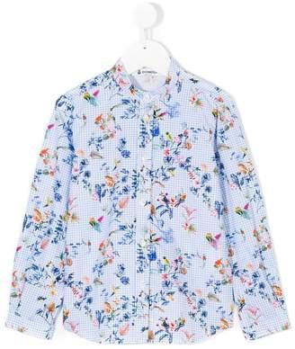 Dondup Kids floral and gingham print shirt
