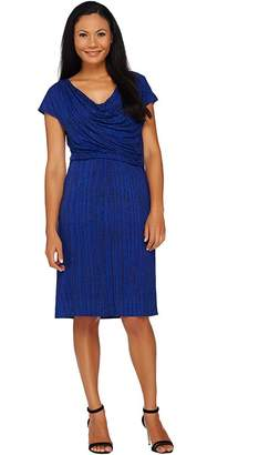 Halston H By H by Frost Print Draped Cowl Neck Cap Sleeve Dress