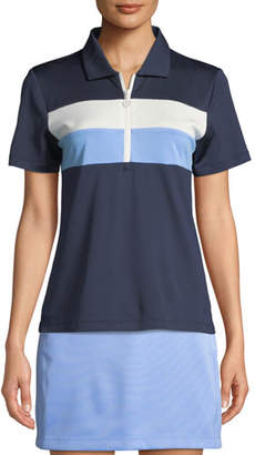 Tory Sport Tech Pique Colorblock Quarter-Zip Activewear Polo