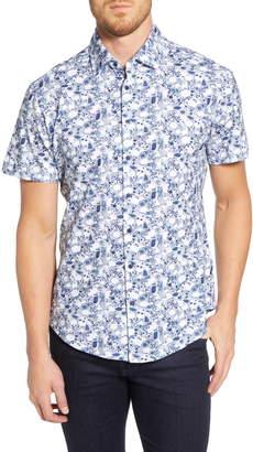 Stone Rose Shell Print Regular Fit Knit Sport Shirt