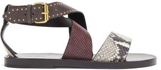 Isabel Marant Juzee Python Effect Leather Flat Sandals - Womens - Dark Grey
