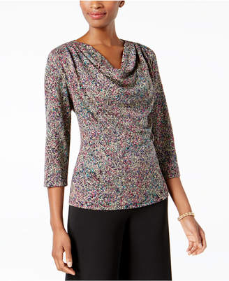 MSK Glitter Cowl-Neck Top