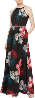Slny Floral-Print Beaded Cocktail Maxi Dress
