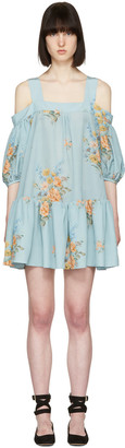 Alexander McQueen Blue Floral Off-the-Shoulder Dress $2,520 thestylecure.com