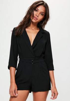 Missguided Black Wrap Blazer Playsuit, Black