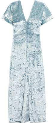 Crushed-velvet Maxi Dress - Blue