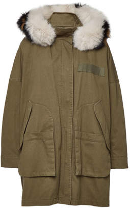 Yves Salomon Army by Cotton Down Parka with Fox Fur