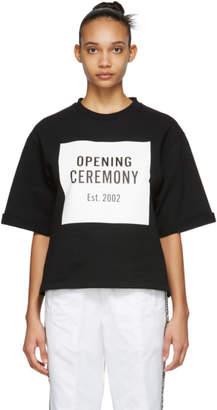 Opening Ceremony Black Logo Cut Off Short Sleeve Sweatshirt