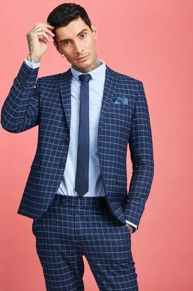 Windowpane Check Skinny Fit Suit Jacket