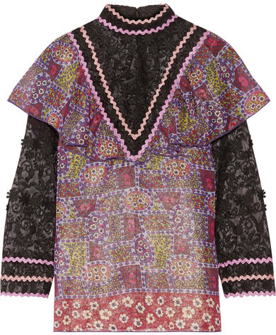 Anna Sui Anna Sui - Embroidered Tulle And Printed Silk-blend Chiffon Blouse - Purple