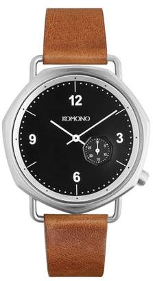 Komono Orson Geo Leather Strap Watch, 40mm
