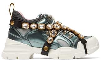 Gucci Flashtrek Crystal Embellished Low Top Trainers - Womens - Grey Multi